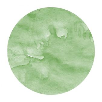 Mão verde escuro desenhada textura de fundo quadro aquarela circular com manchas