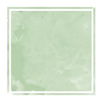 Mão verde escuro, desenhado em aquarela textura de fundo retangular moldura com manchas
