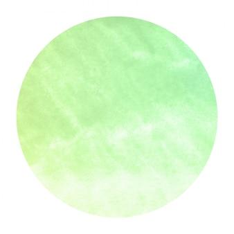 Mão verde extraídas textura de fundo quadro aquarela circular com manchas