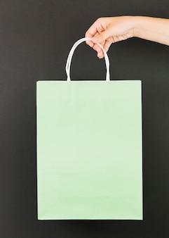 Mão, verde, shopping, pacote