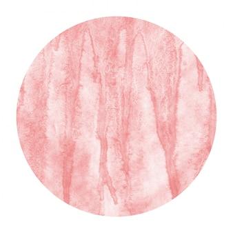Mão vermelha desenhada aquarela moldura circular textura de fundo com manchas