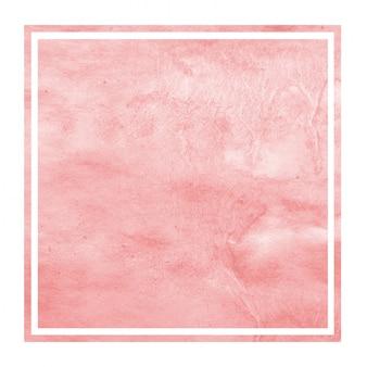 Mão vermelha extraídas textura de fundo aquarela moldura retangular com manchas