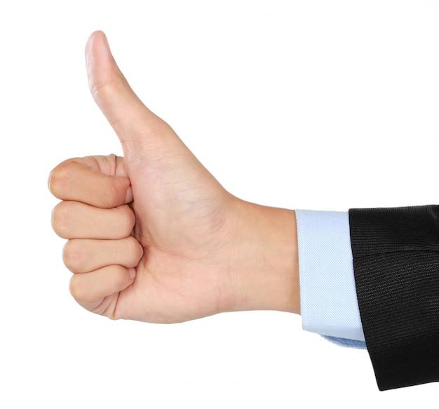 Mão vestindo um terno, dando o polegar para cima sinal