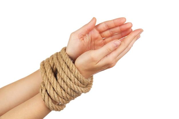 Mãos amarradas, branco isolado