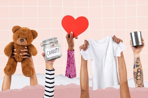 Mãos apresentando caridade para remix de campanha de doação de itens essenciais