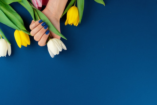 Mãos com manicure segurando tulipas coloridas