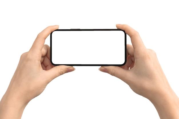 Mãos com maquete de tela horizontalmente isoladas em um fundo branco, foto do celular