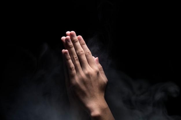 Mãos, com, rezar, gesto