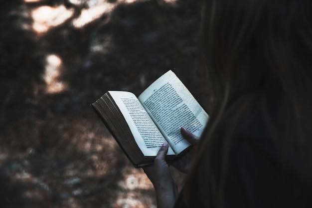 Mãos da senhora, segurando livro
