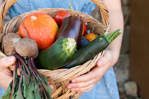 Mãos de close-up, segurando a cesta com legumes