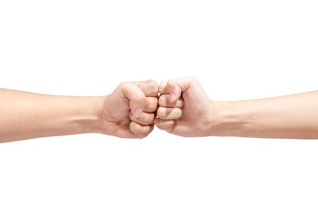 Mãos, de, dois homens, bombeando seus punhos