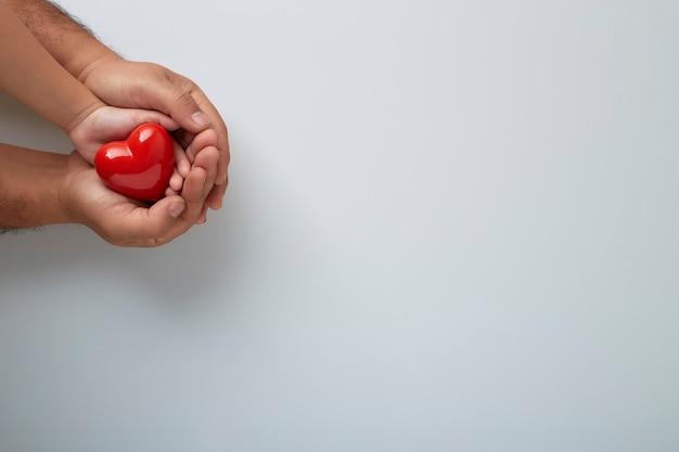 Mãos de homem e criança com um coração vermelho na parede branca