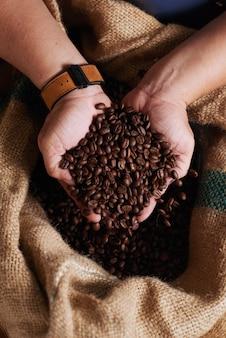 Mãos de homem irreconhecível, segurando um punhado de grãos de café no saco de aniagem