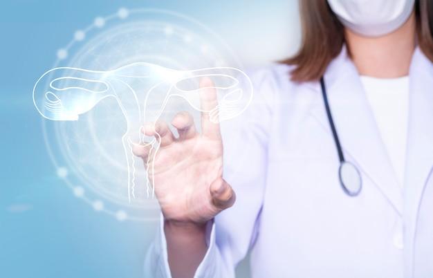 Mãos de médico segurando um ovário digital com conceito de cuidados de saúde e serviços médicos