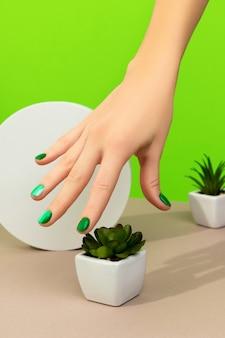 Mãos de mulher bonita bem cuidada com unhas verdes colhendo plantas na mesa