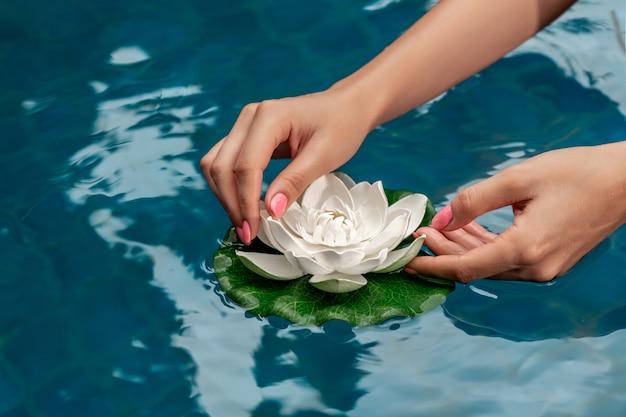Mãos de mulher com manicure rosa detém linda flor de lótus branca na água turquesa