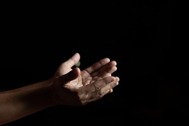 Mãos de mulheres que levantam as mãos