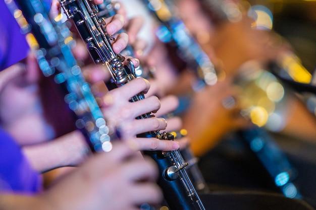 Mãos de músico feminino tocando clarinete