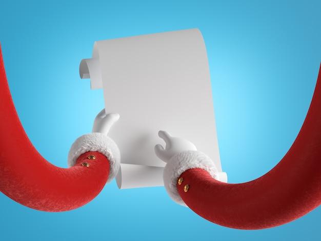 Mãos de papai noel com mangas vermelhas e luvas brancas segurando papel enrolado branco