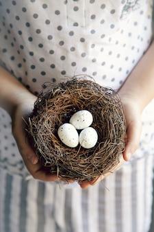 Mãos, de, um, menininha, segurando, um, ninho, com, ovos