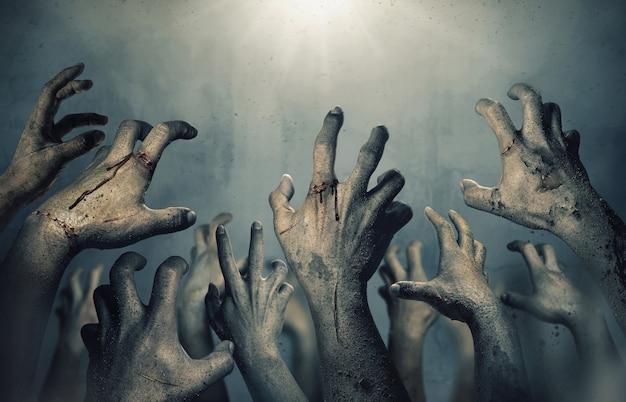Mãos de zumbi subindo na noite escura de halloween.