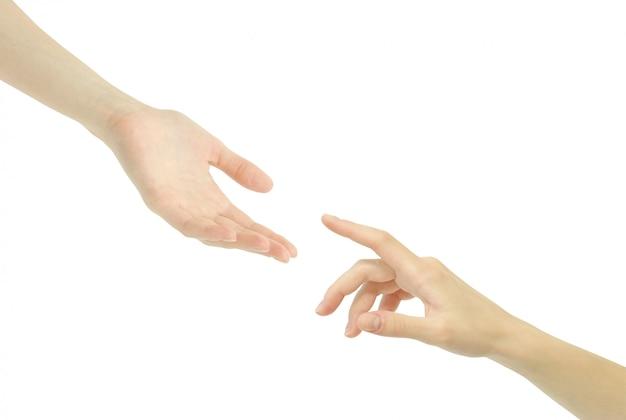 Mãos, dedos quase se tocando