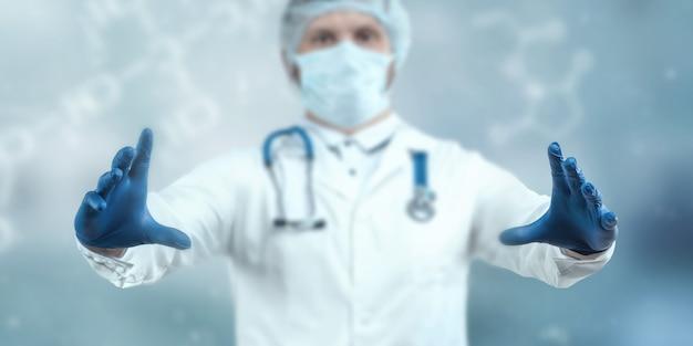 Mãos do médico em close-up de luvas azuis, medicamento, exame.