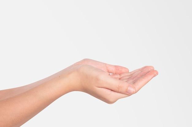 Mãos em concha, compartilhando e cuidando de gestos