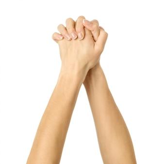 Mãos entrelaçadas. mão de mulher gesticulando isolado no branco