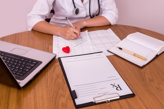 Mãos femininas com caneta prescrevem receita no hospital