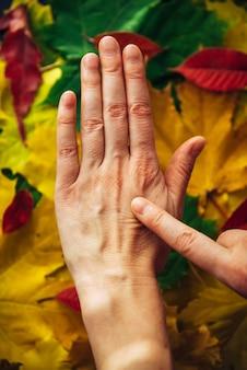 Mãos femininas com close-up de pele desbotada na folhagem de outono.