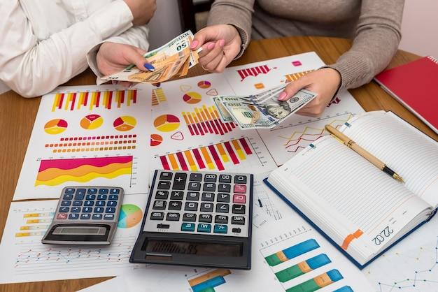 Mãos femininas com dólares e gráficos de negócios