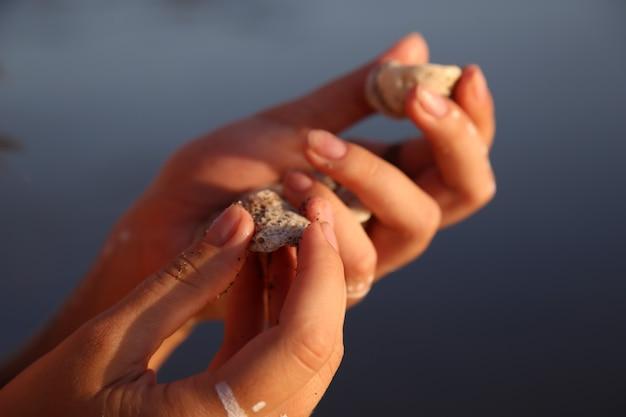 Mãos femininas fechadas com conchas