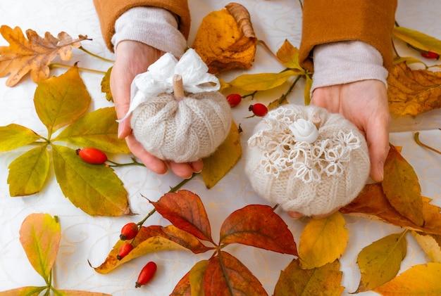 Mãos femininas segurando abóboras de malha com folhas amarelas de outono
