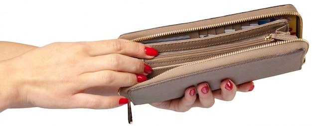Mãos femininas, segurando, couro, carteira