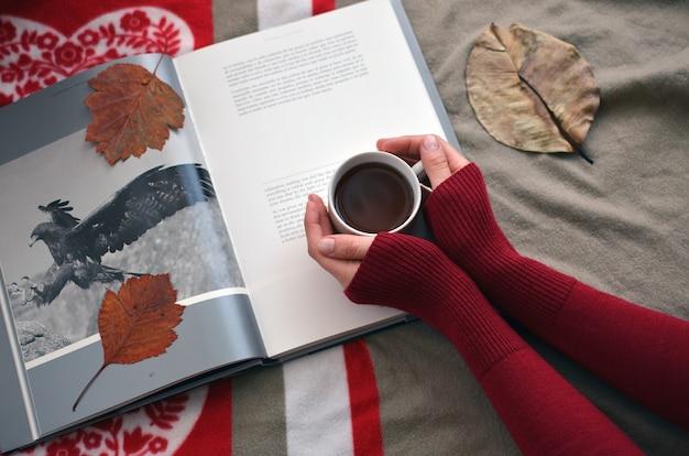 Mãos femininas, segurando, um, xícara café, ligado, a, livro