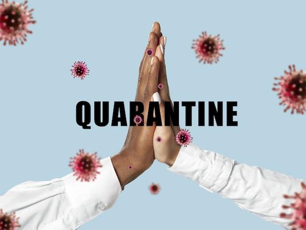 Mãos humanas tremendo, evite saudações enquanto epidemia de coronavírus
