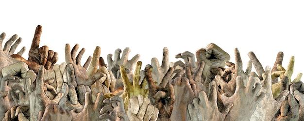 Mãos levantadas de pessoas de diferentes nacionalidades. protesto. demonstração. liberdade. protesto contra o racismo. ilustração. fundo isolado. copie o espaço.
