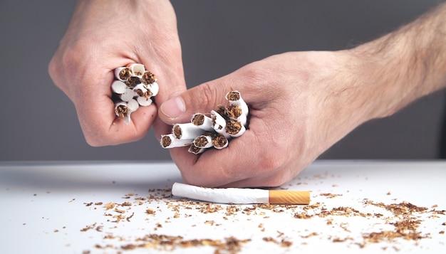 Mãos masculinas quebrando cigarros. parar de fumar