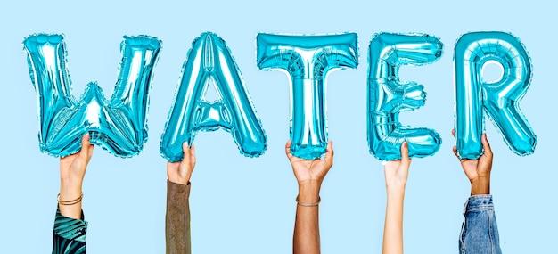 Mãos, mostrando, balões água, palavra