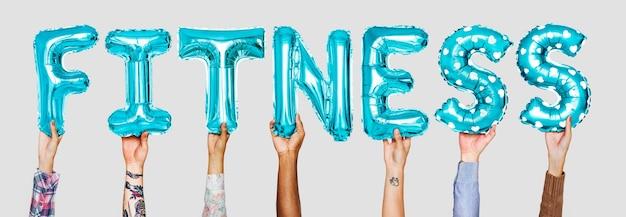 Mãos, mostrando, balões aptidão, palavra