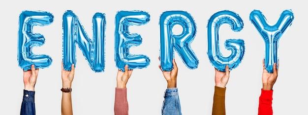 Mãos, mostrando, energia, balões, palavra