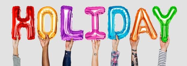 Mãos, mostrando, feriado, balões, palavra