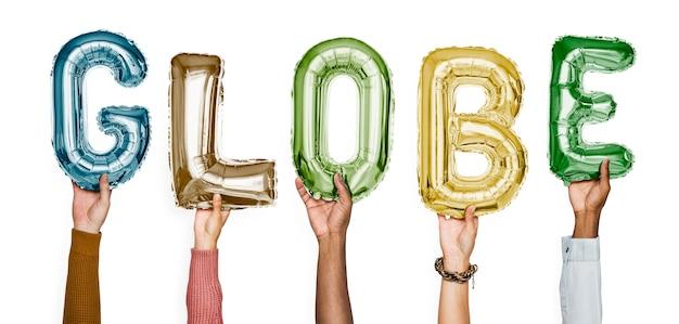 Mãos, mostrando, globo, balões, palavra