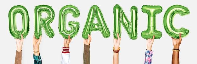 Mãos, mostrando, orgânica, balões, palavra