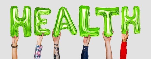 Mãos, mostrando, saúde, balões, palavra