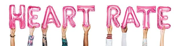 Mãos, mostrando, taxa coração, balões, palavra