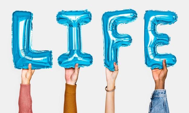 Mãos, mostrando, vida, balões, palavra