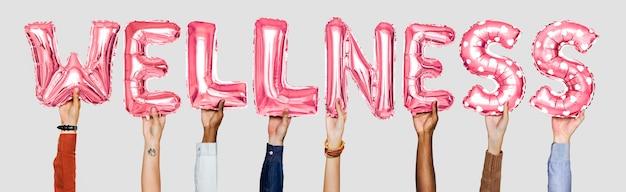 Mãos, mostrando, wellness, balões, palavra