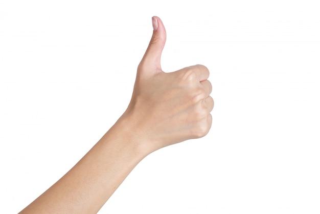 Mãos mulher, gesticule, polegar cima, sinal, por, lado traseiro, isolado, branco